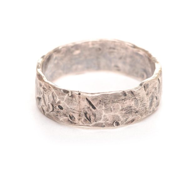 oxidized hammered silver band