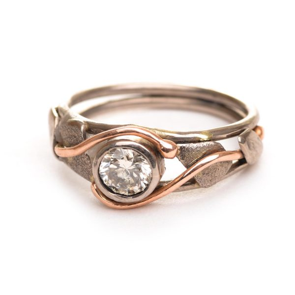 champagne diamond rose gold wedding band
