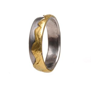 mountain range ring, silver and gold layered handmade ring