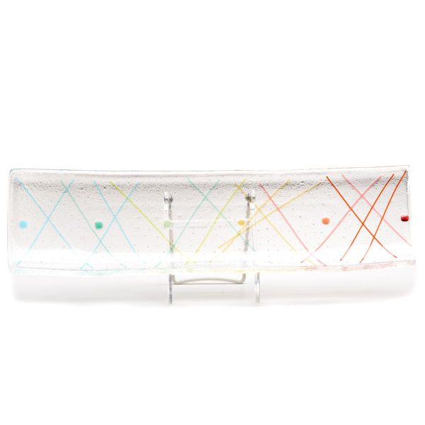 fused glass rainbow clear tray