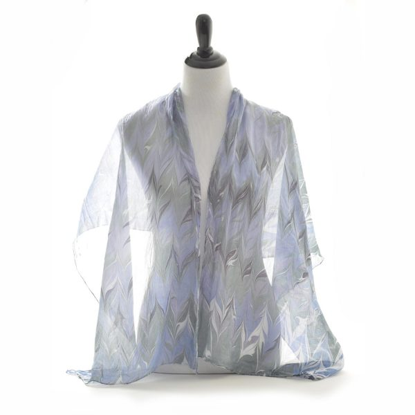 blue marbled silk scarf
