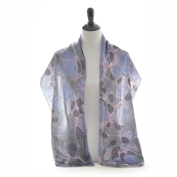 marbled silk scarf, blue green and purple marbled silk scarf, nc silk marbling