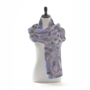 "20"" wide double sided silk marbled scarf, purple and blue silk marbled scarf"