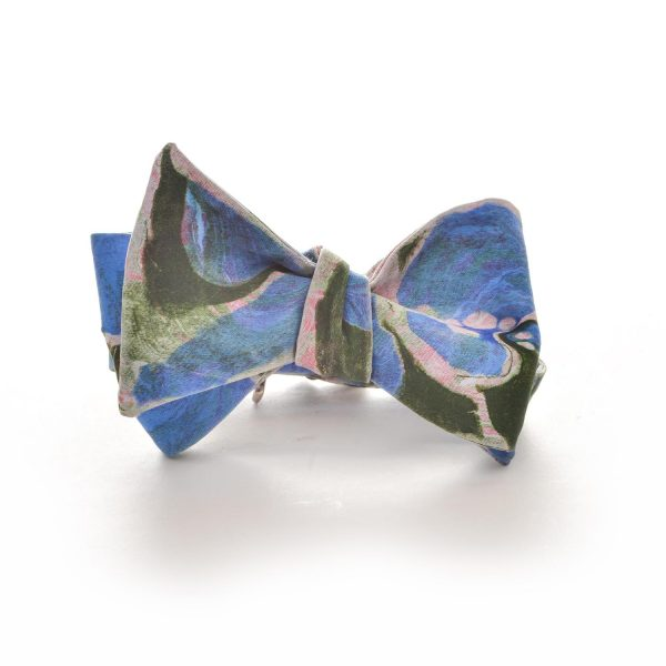 blue and green handmade marbled silk bow tie