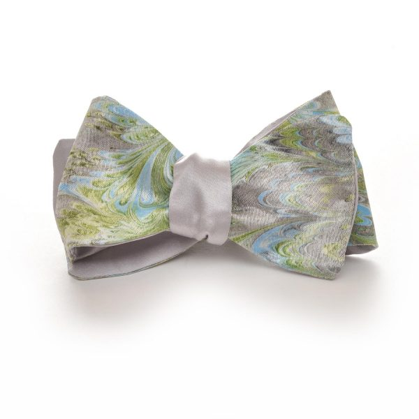 green and blue marbled handmade silk bow tie