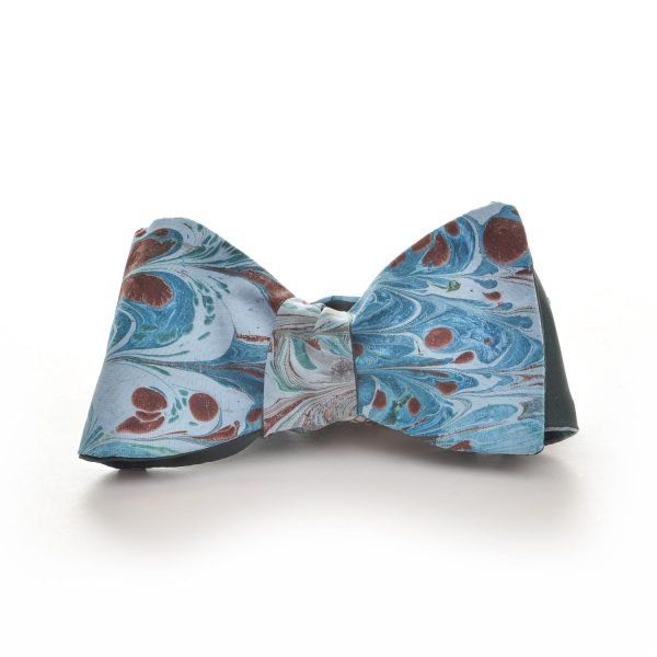 blue and red handmade silk marbled bow tie