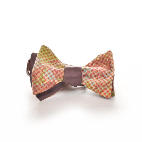 orange handmade silk marbled bow tie