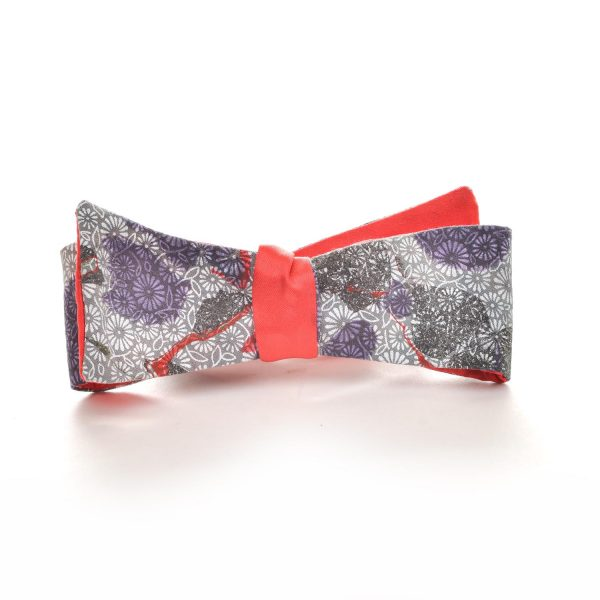 double sided handmade silk marbled bow tie