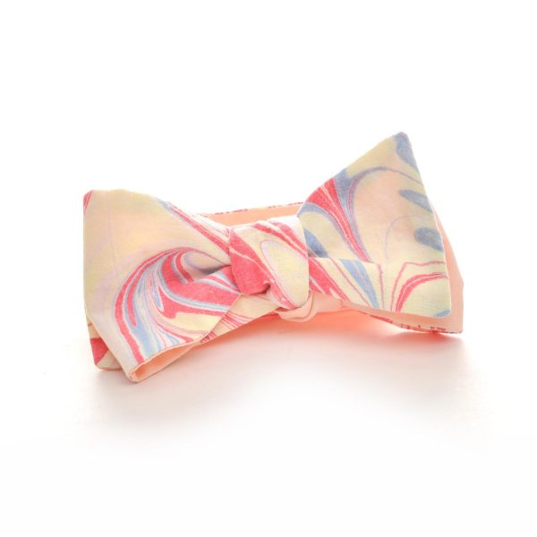 peach and pink handmade marbled silk bow tie