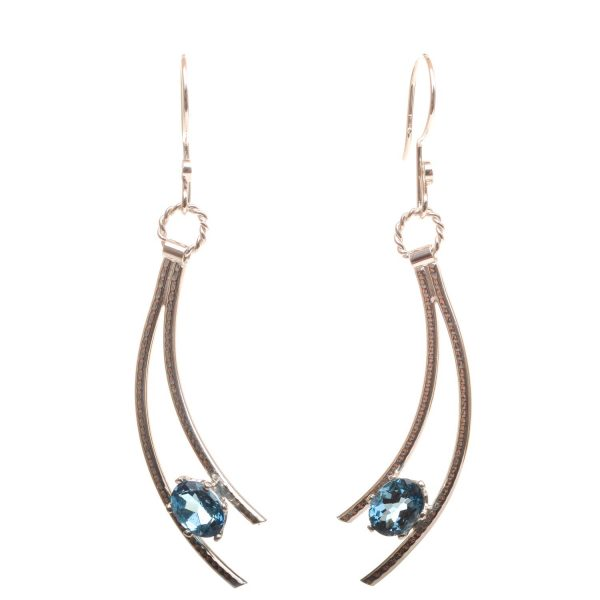 blue topaz handmade silver shooting star earrings, nc jeweler