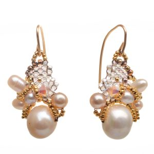 soft pearl earrings with clusters of woven seed beads