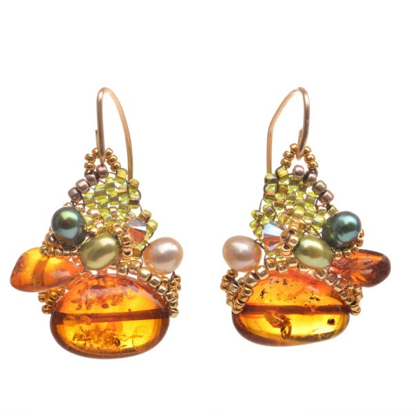 amber and green woven beaded earrings