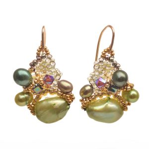 green pearl earrings with woven seed beads and gold beads