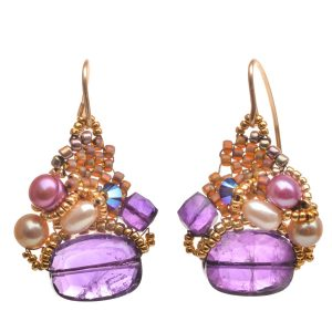 amethyst and gold woven bead earrings