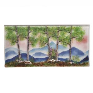 glass spring mountain glass wall art, fused glass landscape