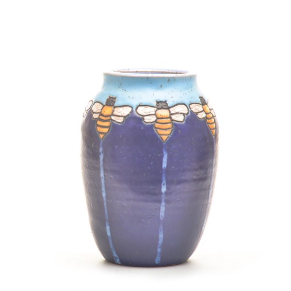 blue and purple hand carved ceramic vase
