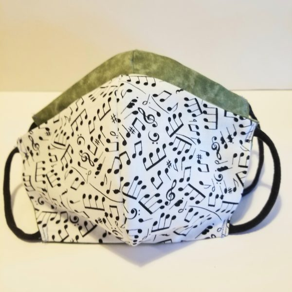 handmade cotton facemask with music notes