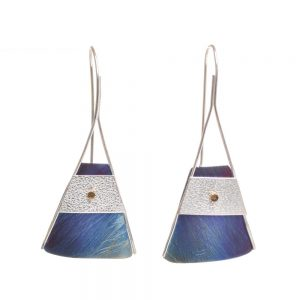 blue and silver art earrings, long handmade triangle blue and silver earrings