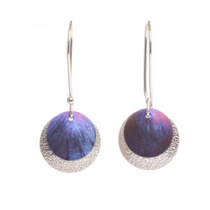 blue and pink silver and titanium round handmade earrings