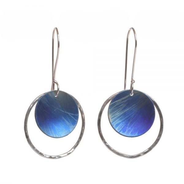 round circle blue and silver titanium handmade earrings
