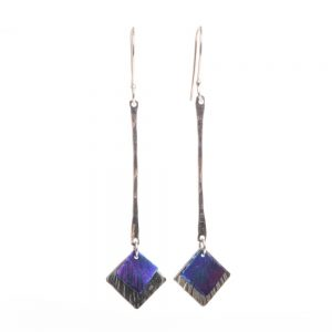 long silver with blue and pink triangles