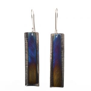 long titanium and silver rectangle colorful earrings