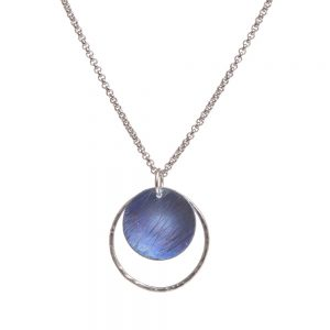 blue and silver titanium round circle necklace, handmade titanium blue necklace
