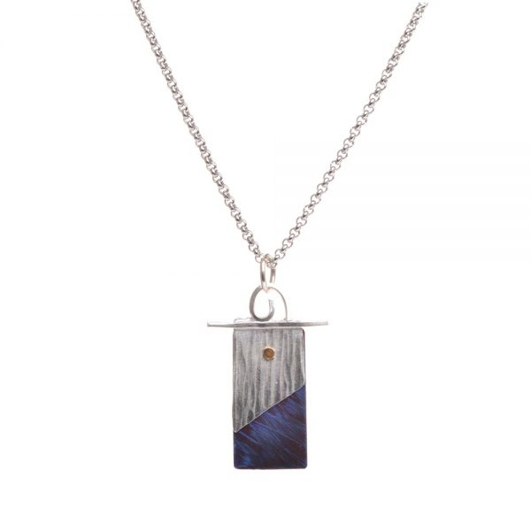 silver and blue and pink handmade rectangle necklace, nc jeweler