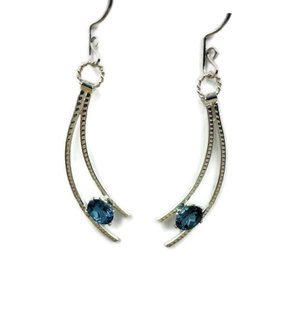 blue topaz and silver shooting star earrings