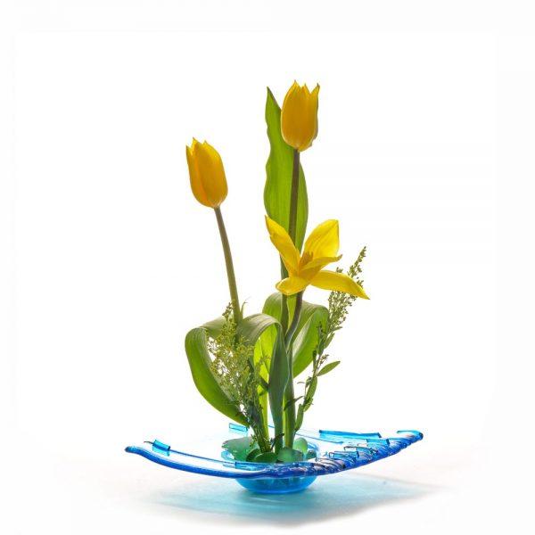 blue fused glass ikebana
