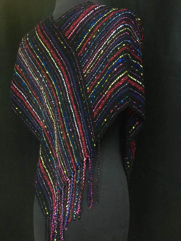 black handwoven multicolor poncho