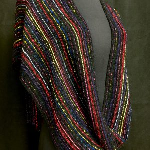 black red and yellow handwoven poncho