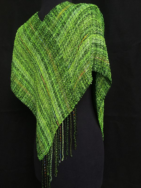 green handwoven swoop poncho