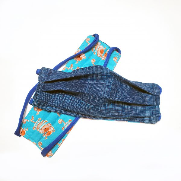 blue handmade cotton mask for dad
