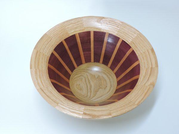 inside view of striped segmented handmade turned wooden bowl, allen davis
