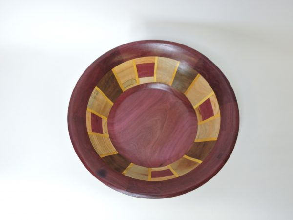 bloodwood and oak segmented wood turned bowl, decorative and function handmade wood bowl by allen davis