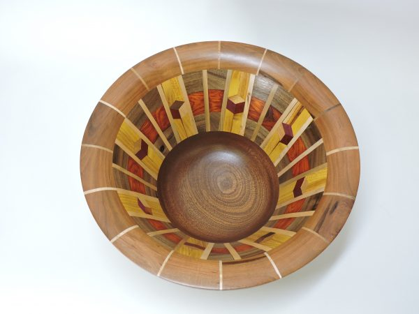inside view of turned and segmented wood bowl