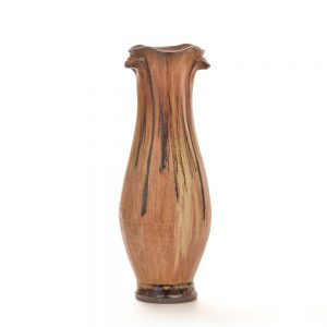 drippy glaze yellow ocher handmade ceramic vase, village potters