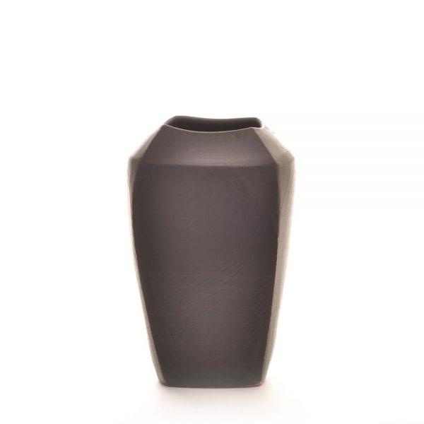 black ceramic handmade vase