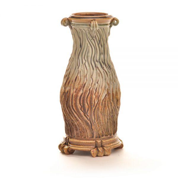 brown and aqua carved ceramic handmade vase, ikebana ceramic vase