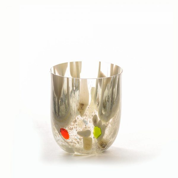 clear short vase with gray green and red dots