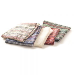 woven multicolored dish clothes, dish washing cloth, old virginia textiles, handmade dish cloths