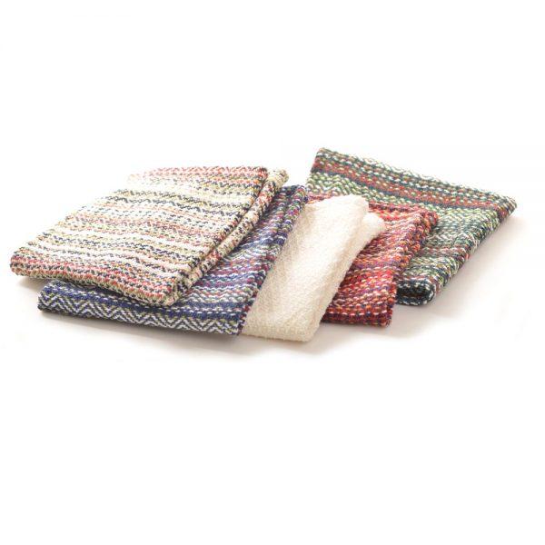 woven multicolored dish clothes, dish washing cloth, old virginia textiles, handmade dish cloths