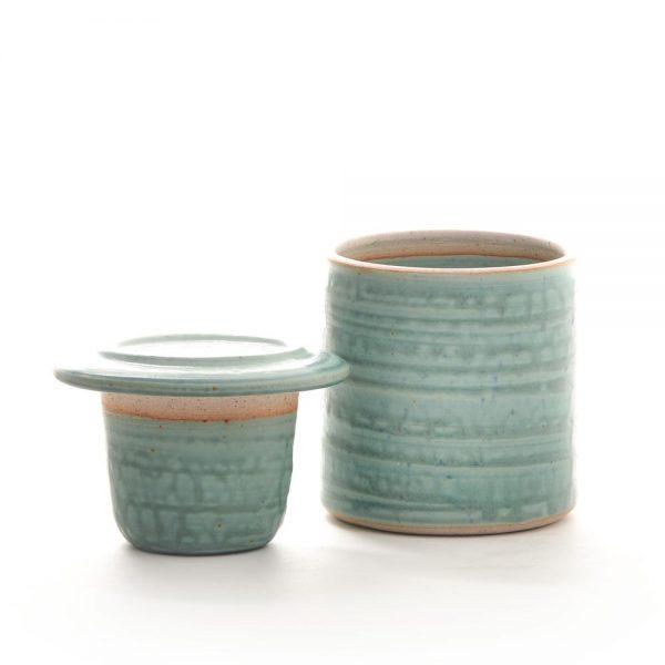 turquoise handmade ceramic butter bell
