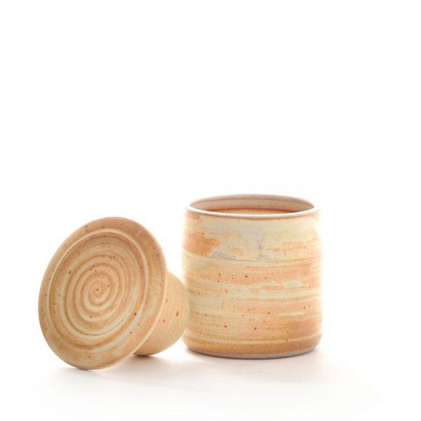 cream colored ceramic butter bell