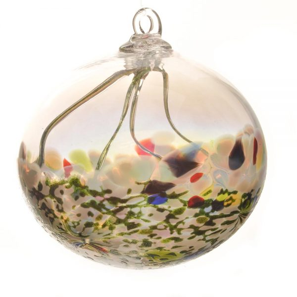 glass green handmade witching ball, fairy ball