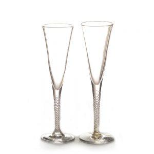 tall handmade glass spiral stem champagne flutes