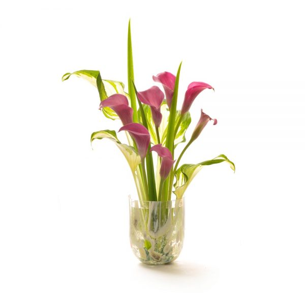 short colorful glass handmade vase with flowers
