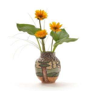 carved mountain vase
