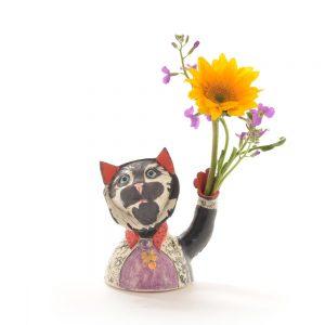 cearmic handmade cat vase sculpture